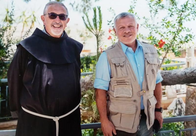 Br. Raffaele Caputo, superior of Mount Nebo's monastery, with the King Abdallah II of Jordan - June 2020