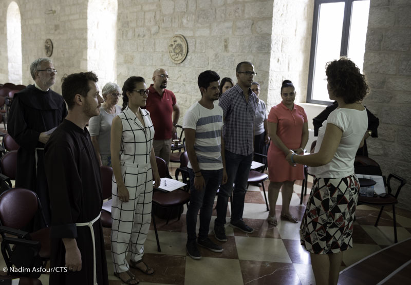 At Gregorian chant lessons at the Custody of the Holy Land