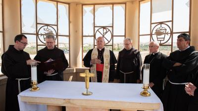 Msgr. Leonardo Sandri, during his visit to the Franciscan chapel at the site of the Baptism of Jesus, October 2019