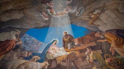 Painting in the chapel of Shepherd's Field in Bethlehem depicting the shepherds celebrating the birth of the Messiah (Ph. Nadim Asfour)