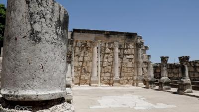 The remains of the ancient synagogue at Capernaum